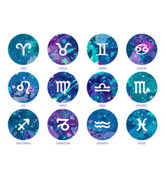 zodiac icons on watercolor background free hand vector image