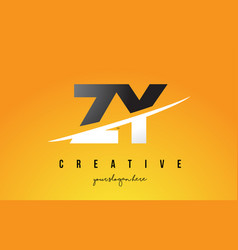 zy z y letter modern logo design with yellow vector image