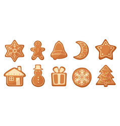 set of cartoon gingerbread christmas vector image vector image