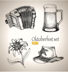 Sketch elements for oktoberfest festival vector image