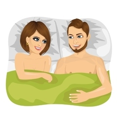 young happy couple in bed vector image vector image
