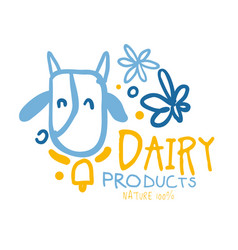 dairy products logo symbol colorful hand drawn vector image vector image