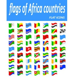 Flags of africa countries flat icons vector