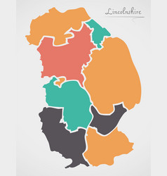 Lincolnshire england map with states and modern vector