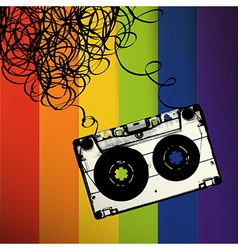 Audiocassette tape with tangled On rainbow stripes vector image vector image
