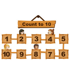 children and numbers one to ten on wooden boards vector image