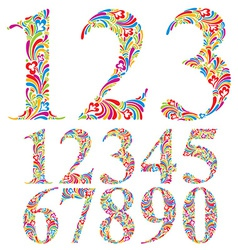 Floral colorful numbers set vector image