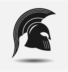 icon spartan helmet silhouette greek warrior vector image