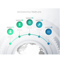 infographic template with five circles icons line vector image