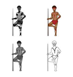 astralian aborigine icon in cartoon style isolated vector image vector image