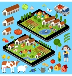 Big set of rural farmer elements vector image