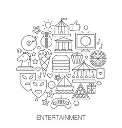entertainment in circle - concept line vector image vector image