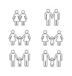 gay family thin line icons white vector image vector image