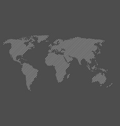 hatched map of world striped design vector image