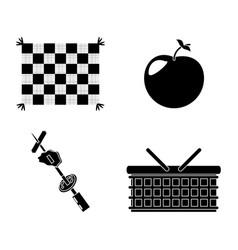Picnic basket grilled food apple blanket vector