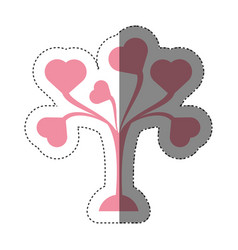 pink tree leaves shape hearts lovely shadow vector image vector image