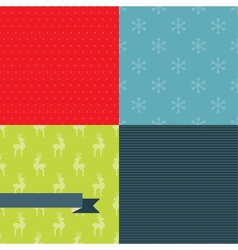 Set of 4 Christmas and New Year seamless patterns vector image
