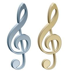 3d metallic violin clefs vector
