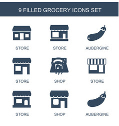9 grocery icons vector