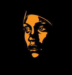 African woman face portrait silhouette in vector