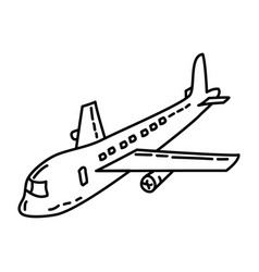 airplane icon doodle hand drawn or outline icon vector image