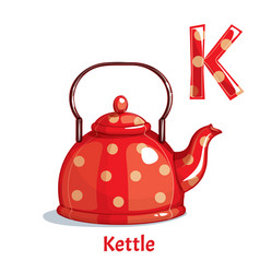 Alphabet letter k kettle vector