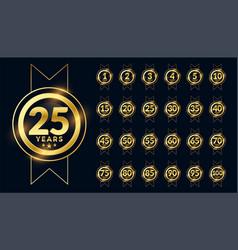 anniversary label celebration emblem big set vector image