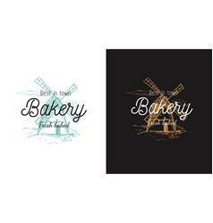 bakery logo symbol with windmill rural vector image