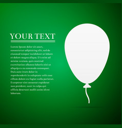 Balloon with ribbon flat icon on green background vector