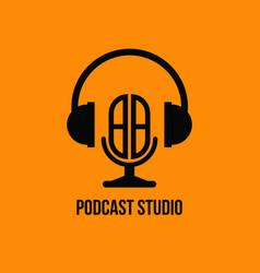 Bb monogram headphone and microphone style vector