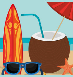 beach landscape with coconut cocktail scene vector image