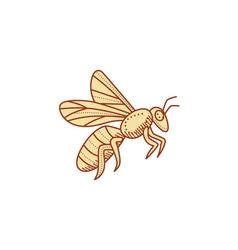 Bee Flying Mono Line vector image