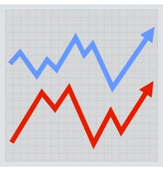 Business graph Red and Blue Arrowson Light vector