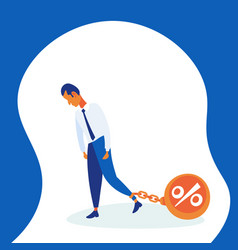 Businessman pulling chain bound leg credit debt vector
