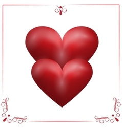 Card for Valentine s Day Two purple hearts on a vector image