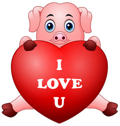 cartoon pig holding red heart vector image