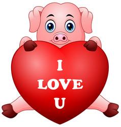 Cartoon pig holding red heart vector