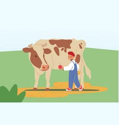 Cheerful kid feeding cute cow at farm or outdoor vector