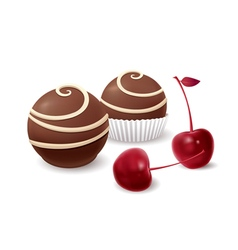 Chocolate candy and cherry vector image