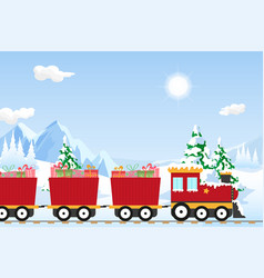 Christmas train in a winter wonderland vector