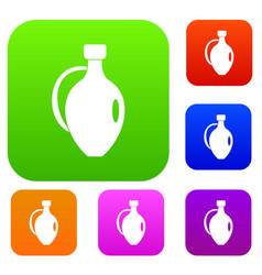 clay jug set color collection vector image