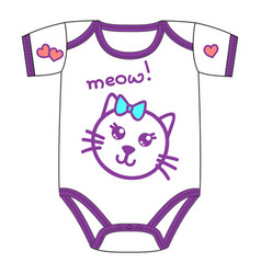 clothes for newborn girl with cute kawaii cat vector image