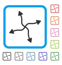 curve arrows framed icon vector image