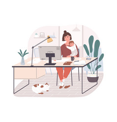 Cute happy mother holding her infant baby sitting vector