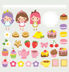 Cute sweets clip art set vector
