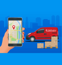 delivery service via modern technology tracking vector image