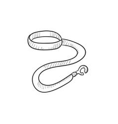 Dog leash and collar sketch icon vector image