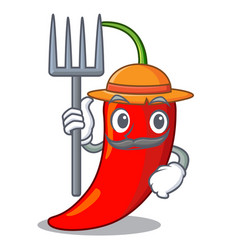 Farmer cartoon red hot natural chili pepper vector