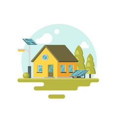 flat icon of cute yellow eco house with vector image