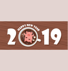 Funny happy new year of 2019 greeting card year vector